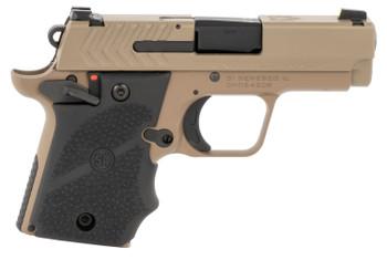 "Springfield Armory PG9119FH 911  9mm Luger 3"" 6+1 7+1 Flat Dark Earth Cerakote Black Hogue Wraparound Rubber Grip"