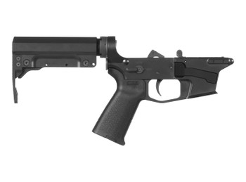 CMMG 92CA3C7 Banshee 300 MK17 AR-Platform Lower Group Black CMMG 6 Position RipBrace Stock 7075 T6 Aluminum Black Hardcoat Anodized Receiver