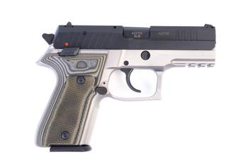 Arex Rex Zero 1CP-13G1 Grey with Hogue Checkered Green Grips 9mm 15 Round Pistol