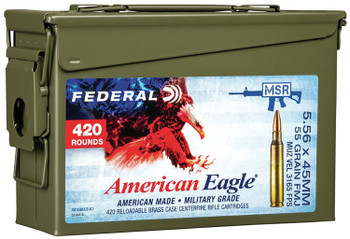 Federal XM193BK420AC1X American Eagle  5.56x45mm NATO 55 gr Full Metal Jacket Boat Tail (FMJBT) 420 Bx/ 1 Cs