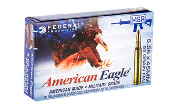 Federal XM193X American Eagle  5.56x45mm NATO 55 gr Full Metal Jacket Boat Tail (FMJBT) 20 Bx/ 25 Cs