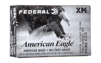 Federal AE223JX American Eagle  223 Rem 55 gr Full Metal Jacket Boat Tail (FMJBT) 20 Bx/ 25 Cs