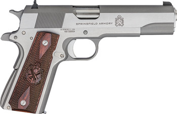 """SPRINGFIELD ARMORY 1911 .45ACP MIL-SPEC 5"""" FS 7-SHOT STAINLESS STEEL"""