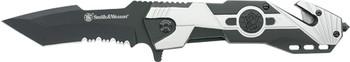 "SMITH & WESSON KNIFE M&P SWP17 3.5"" SRRTD BLADE W/STRAP CUTTER PROMO Q3<"