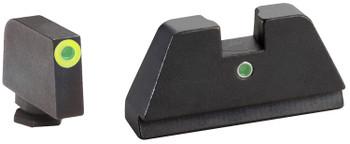 AmeriGlo GL391 Tall Suppressor Height Sight XL i-Dot Tritium Green w/LimeLumi Outline Front Green Rear Black Frame for Glock Except 42 & 43