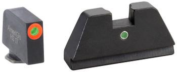 AmeriGlo GL291 Tall Suppressor Height Sight XL i-Dot Tritium Green w/Orange Outline Front Green Rear Black Frame for Glock Except 42 & 43