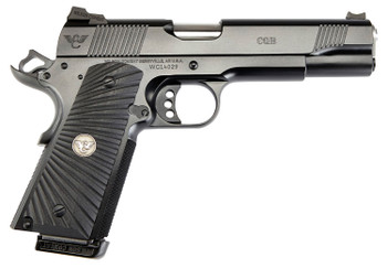 "Wilson Combat CQBEFS9 1911 CQB Elite 9mm Luger 5""8+1 Overall Black Carbon Steel with  G10 Starburst Grip Fiber Optic Front Sight"
