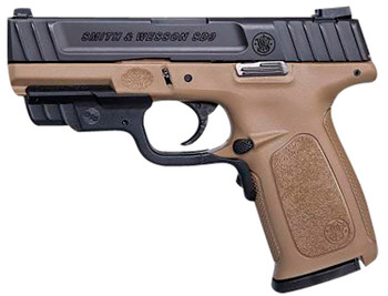 """Smith & Wesson 12400 SD9  9mm Luger 4"""" 16+1 Flat Dark Earth Frame Black Armornite Stainless Steel Slide/Barrel with Crimson Trace Laser"""