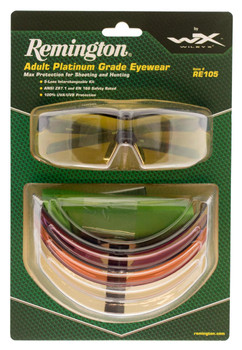 d6b3e406917f Remington Wiley X RE 105 Shooting Sporting Glasses KIT EYE Protection Black  Frame Clear Yellow Smoke Gray Persimmon Purple Lenses