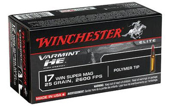 Winchester Varmint HE 17Wsm 25 Grain Weight V-Max 50/