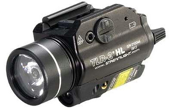 Streamlight 69261 Tlr-2 HL Weapon Light White C4 LED 1000 Lumens Cr123a Lithium Battery Black Aluminum With RED Laser