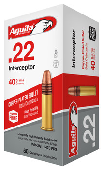 Aguila Ammo .22Lr Interceptor 1470Fps. 40Gr. Lead
