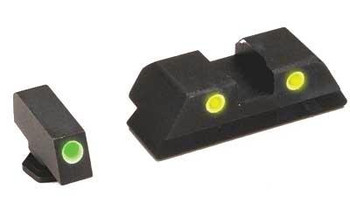 Ameriglo Gl115 Classic 3 DOT Night Sight Fits Glock 17/19 Tritium Green W/White Outline Front Tritium Yellow W/White Outline Rear