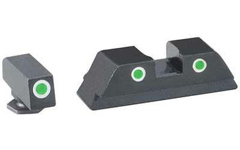 Ameriglo Gl113 Classic 3 DOT Night Sight Fits Glock 17/19 Tritium Green W/White Outline Front Tritium Green W/White Outline Rear