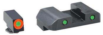 AmeriGlo GL386 Spartan Operator Night Sight Glock 42/43 Tritium/Paint Green w/Or