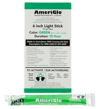 "AmeriGlo 612HG10B 6"" 12 Hour Waterproof Green Light Stick/10 Pack"