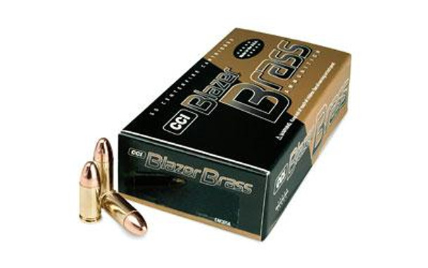CCI 5200 Blazer Brass  9Mm Luger 115 GR Full Metal Jacket Round Nose 50 BX/ 20 CS