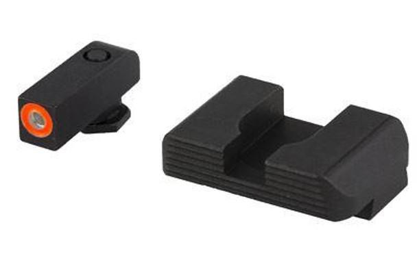 Ameriglo GL436 Hackathorn Sight  Fits Glock 42/43 Tritium Green W/Orange Outline Front Steel Black Rear Black