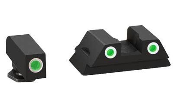 Ameriglo GL430 Classic 3 DOT Night Sight  Fits Glock 42/43 Tritium/Paint Green W/White Outline Front/Rear Black