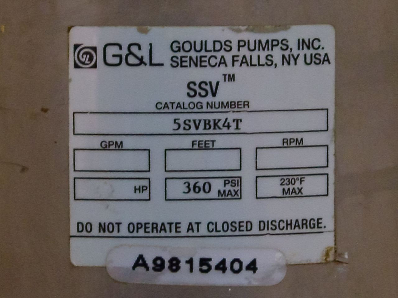 Goulds Pumps 15 HP SSV 3 5