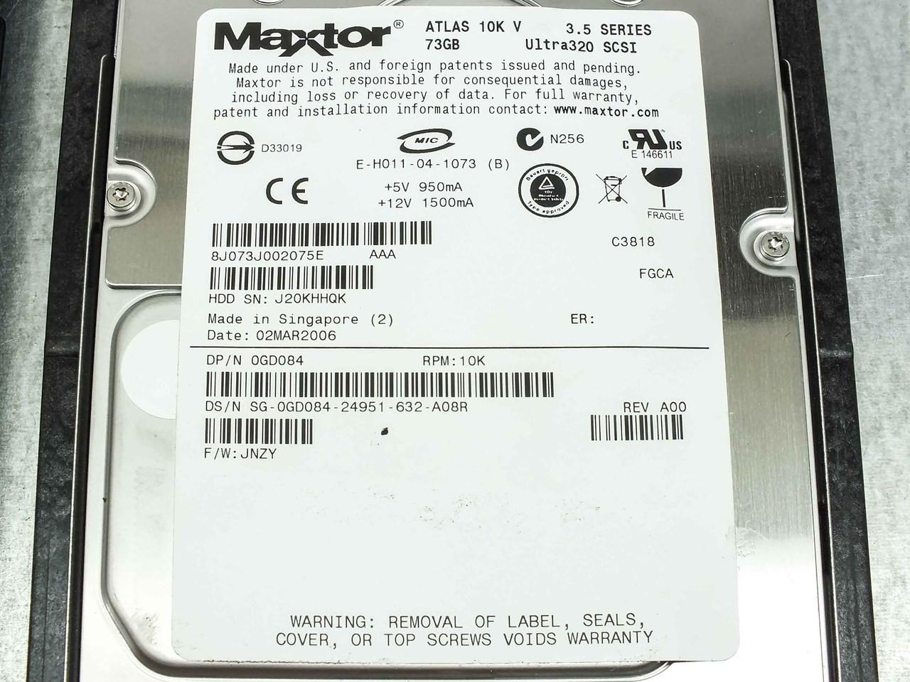 Dell PowerEdge 2850 Xeon 3 0GHz Server, 4GB RAM, (4) 73GB and (2) 36GB HDD