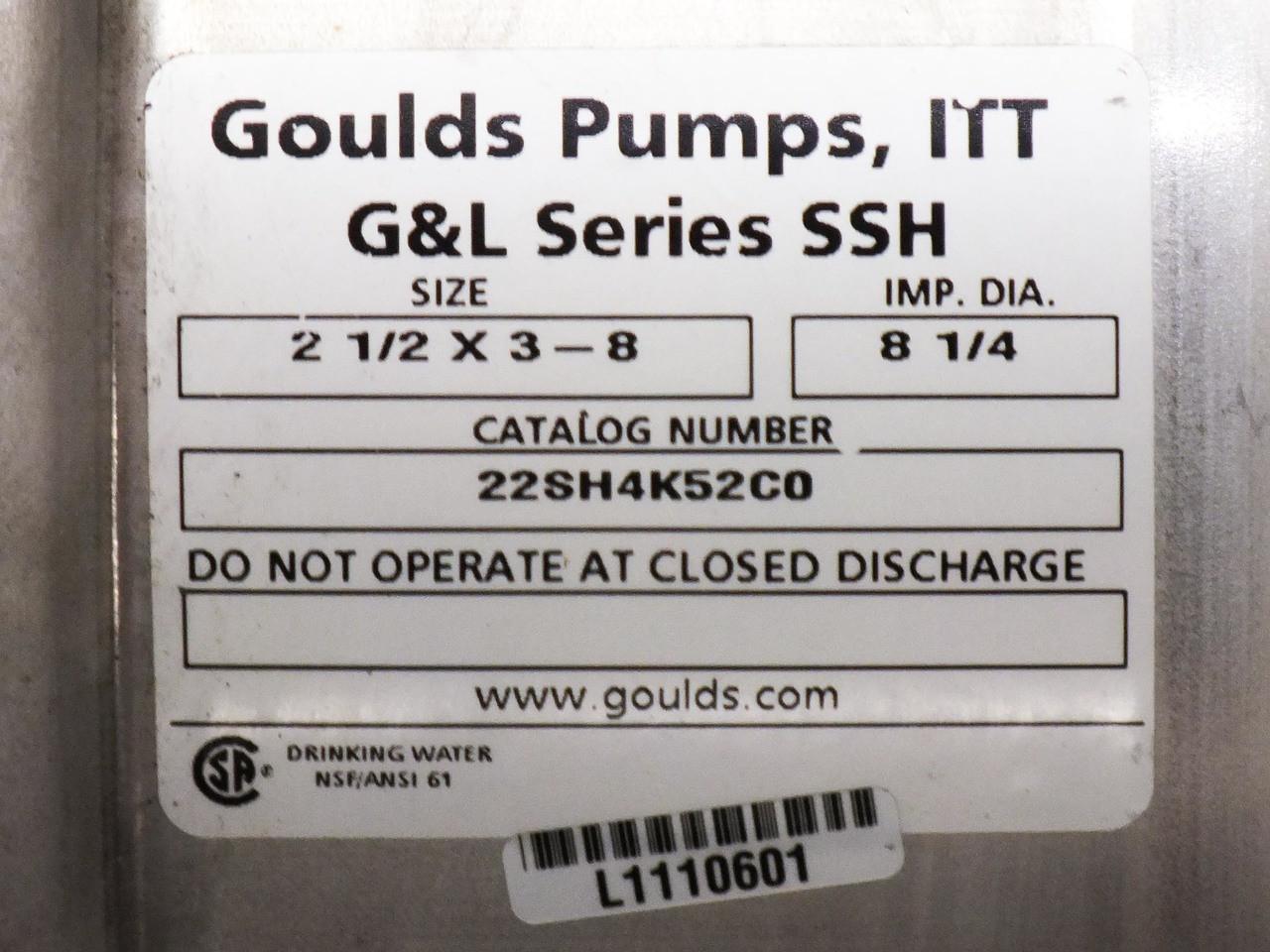 Goulds Pumps 22SH4K52C0 G&L Series SSH Centrifugal Pump 230/460VAC 7 HP  1770 RPM