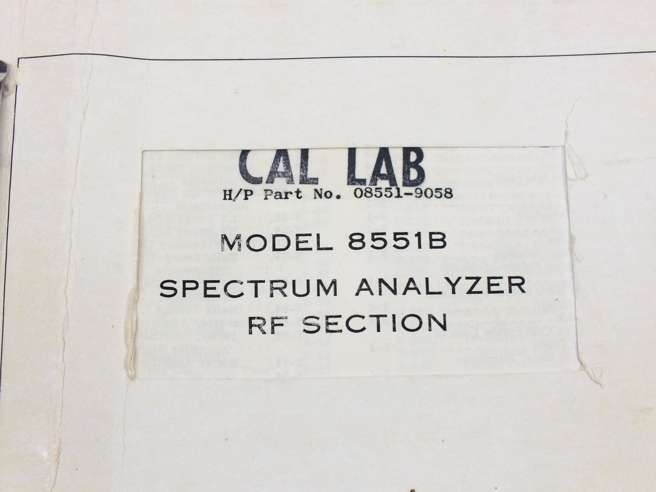 HP 8551B Spectrum Analyzer RF Section Operating and