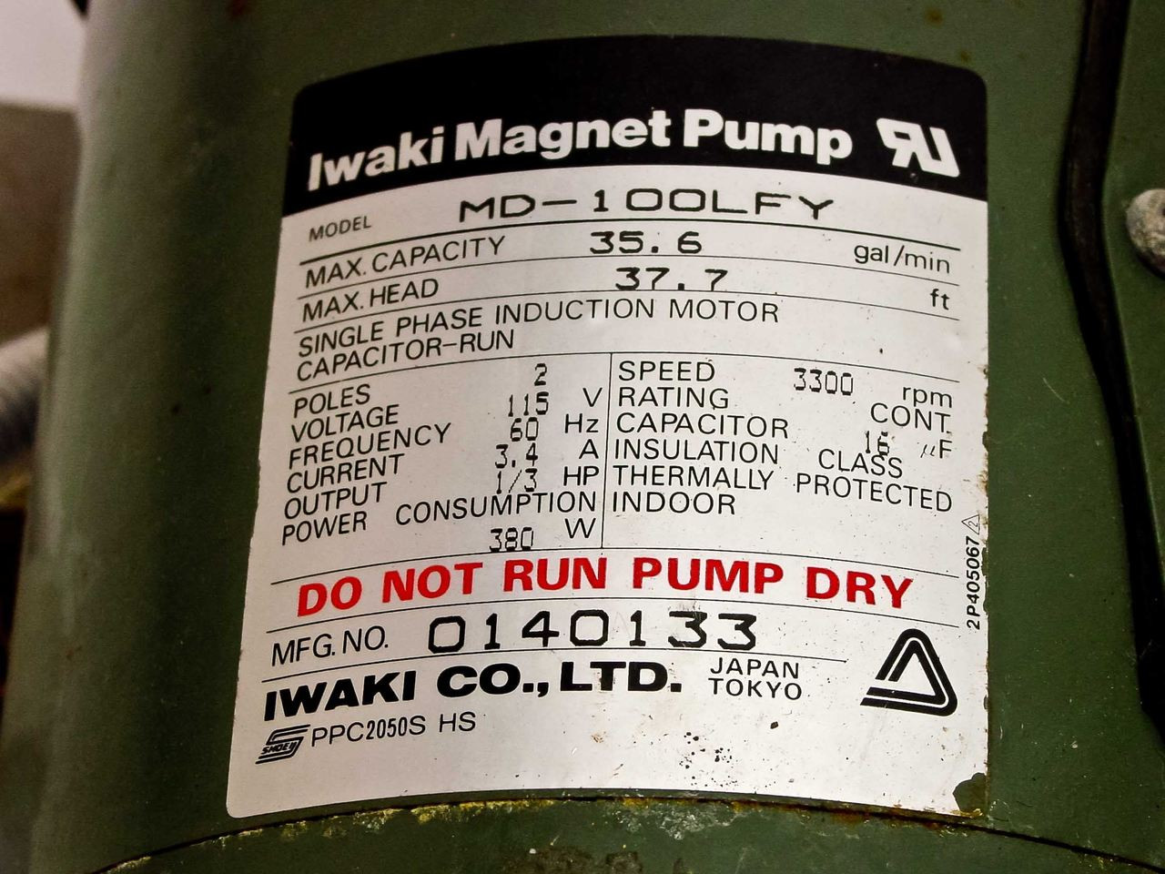 Iwaki MD-100LFY Magnetic Drive Pump Fluoroplastic As-Is For Parts