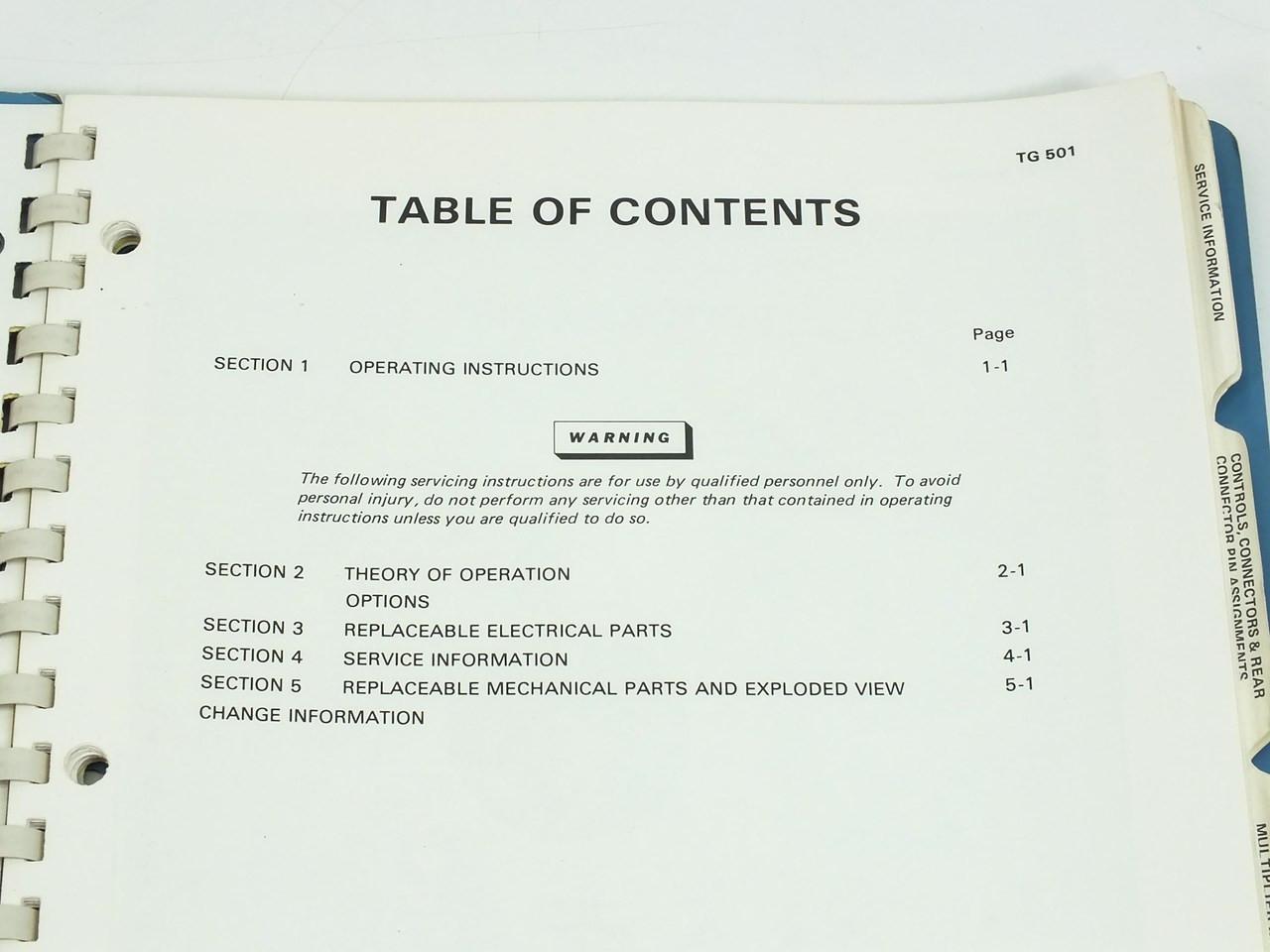 TEK TG501 Time Mark Generator Operating-Service Manual