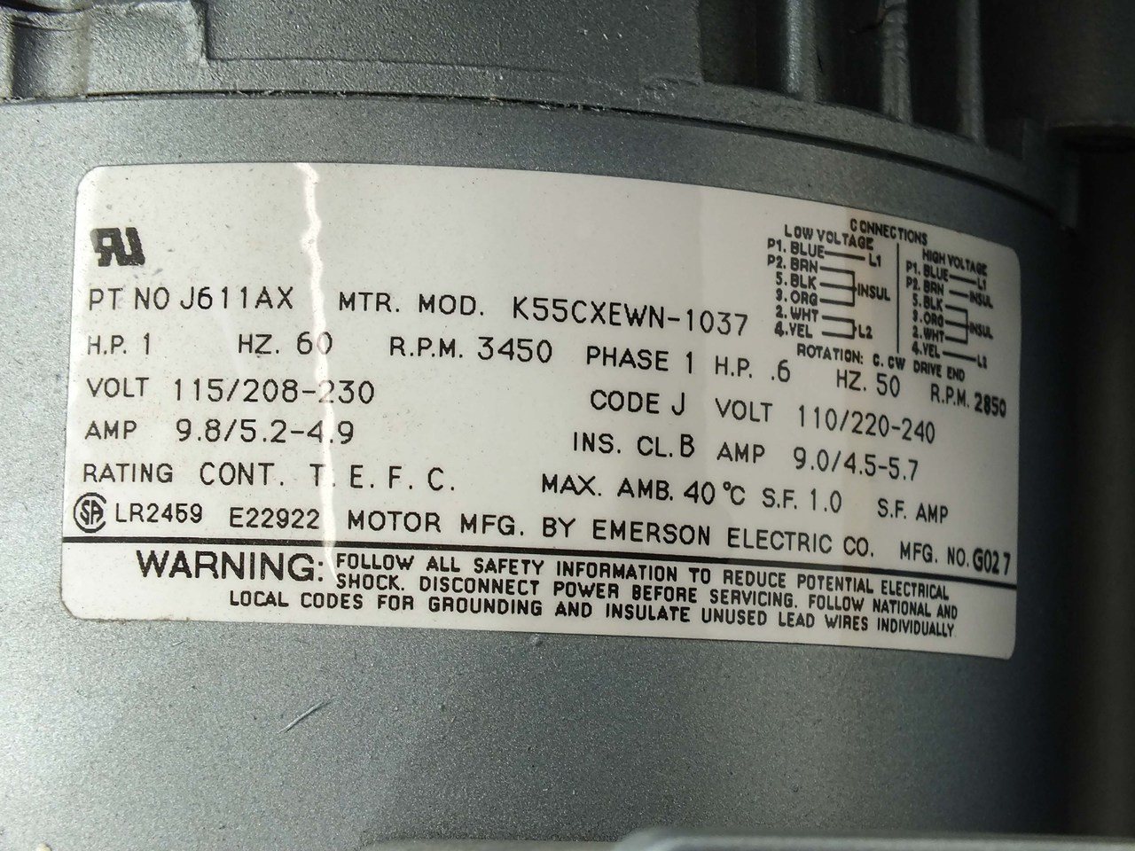 gast r4110 2 regenair regenerative blower 1 hp, 115 208 230v, 50 60hz, 1 phase  regenerative blower appl dg200 11ts