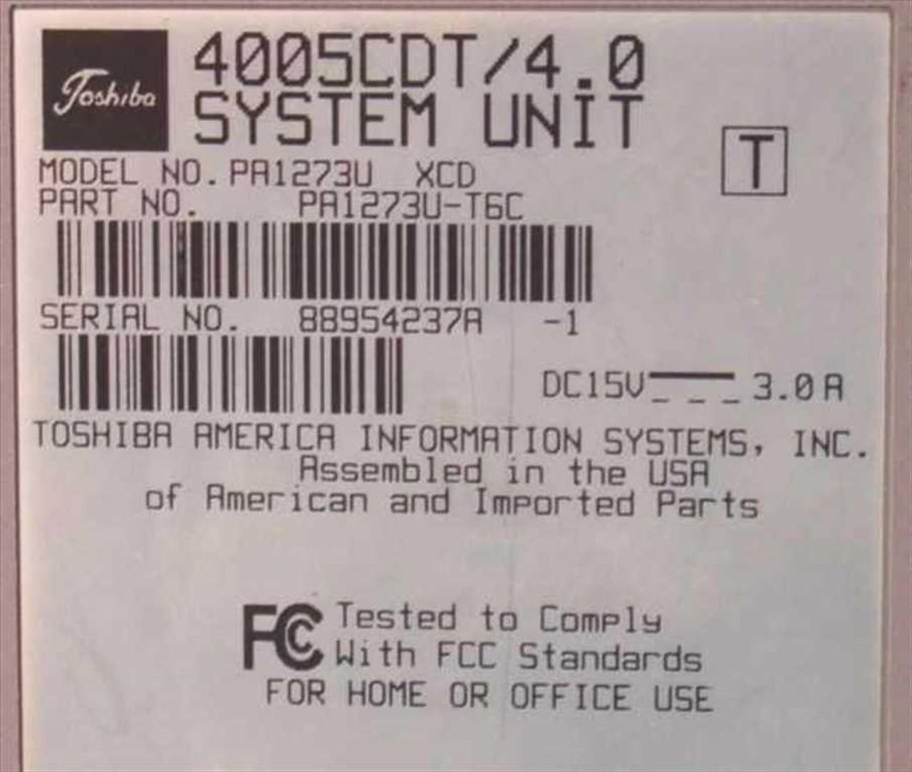 Toshiba PII 233 MHz Satellite 4005CDS 32RAM 4 0GbHDD PA1273U-S6C