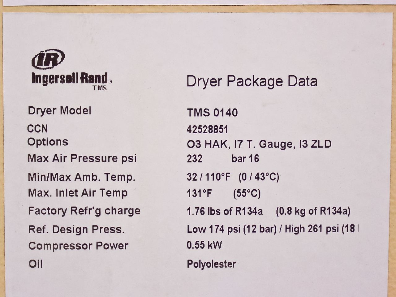 Ingersoll Rand TMS 0140 Thermal Mass Cycling Compressed Air Dryer