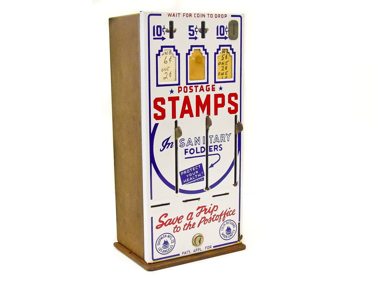 Shipman Manufacturing Co Vintage Three Slot Us Post Office Stamp Vending Machine