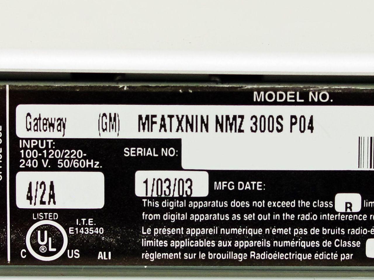 GATEWAY MFATXNIN NMZ 300S DOWNLOAD DRIVER