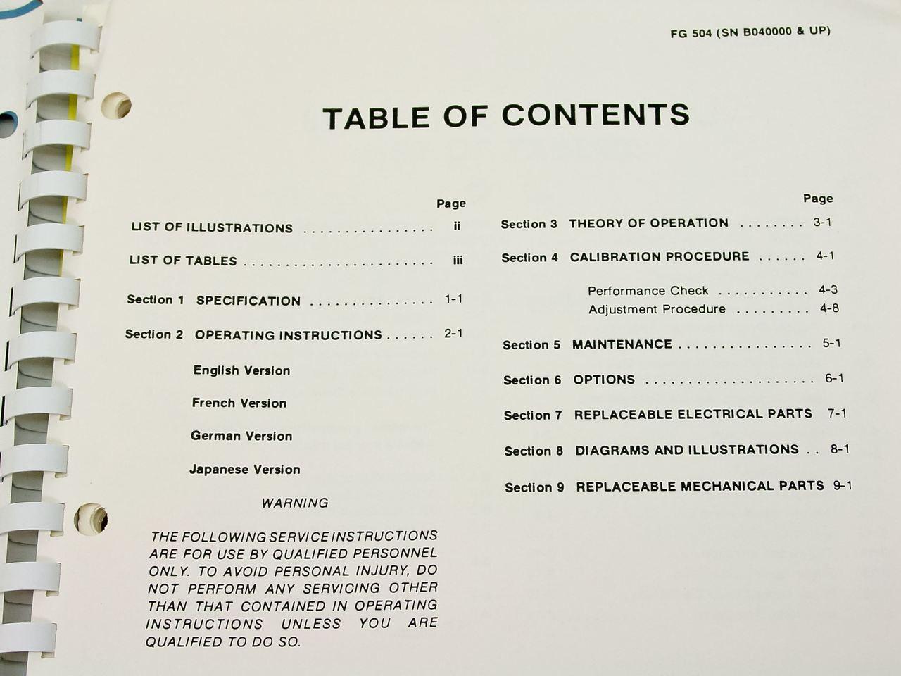 Tektronix FG504 40 MHz Function Generator Instruction Manual