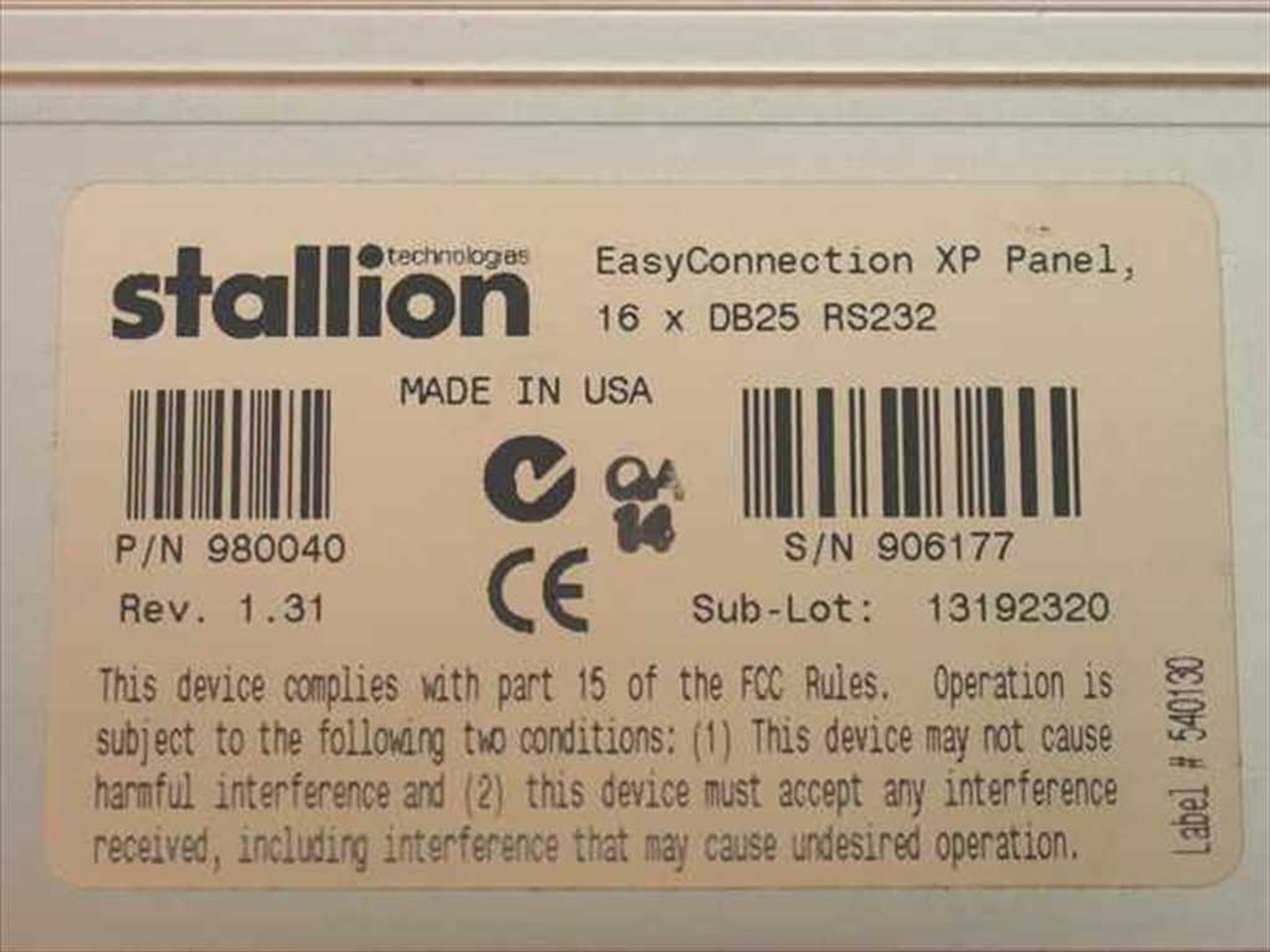 Stallion Technologies Easyconnection Xp Panel 16 Ports with DB25