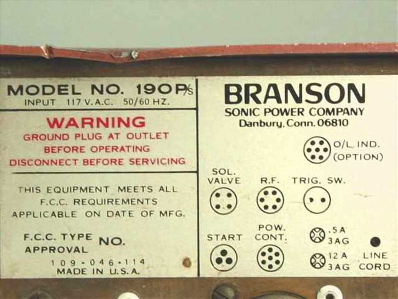 Branson Sonic Power Co  190P/s Generator Power Supply