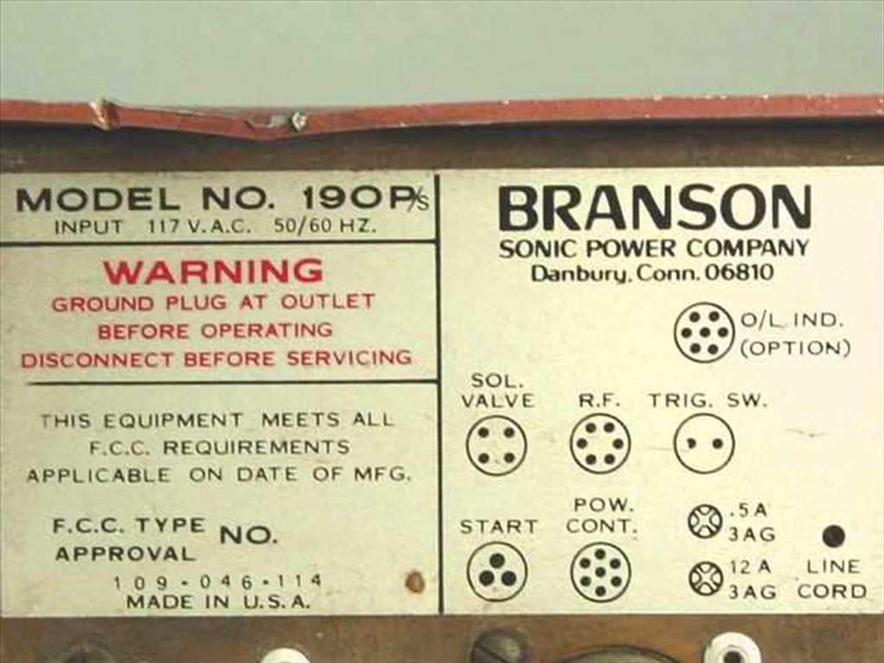 Branson Sonic Power Co  190P/s Generator Power Supply