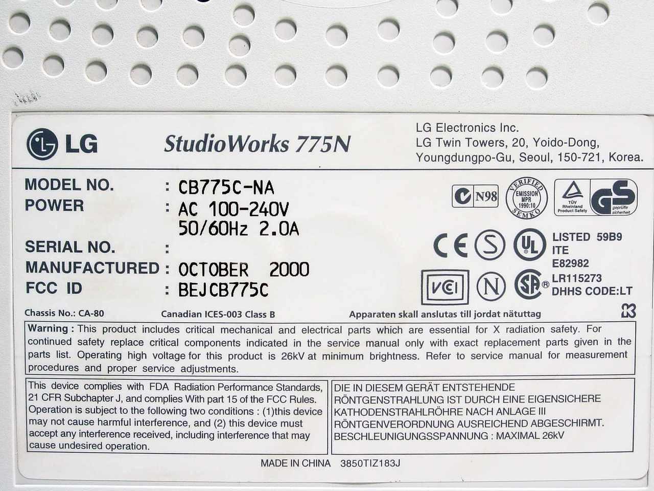 LG Electronics Inc  CB775C-NA LG Studioworks 775N 15