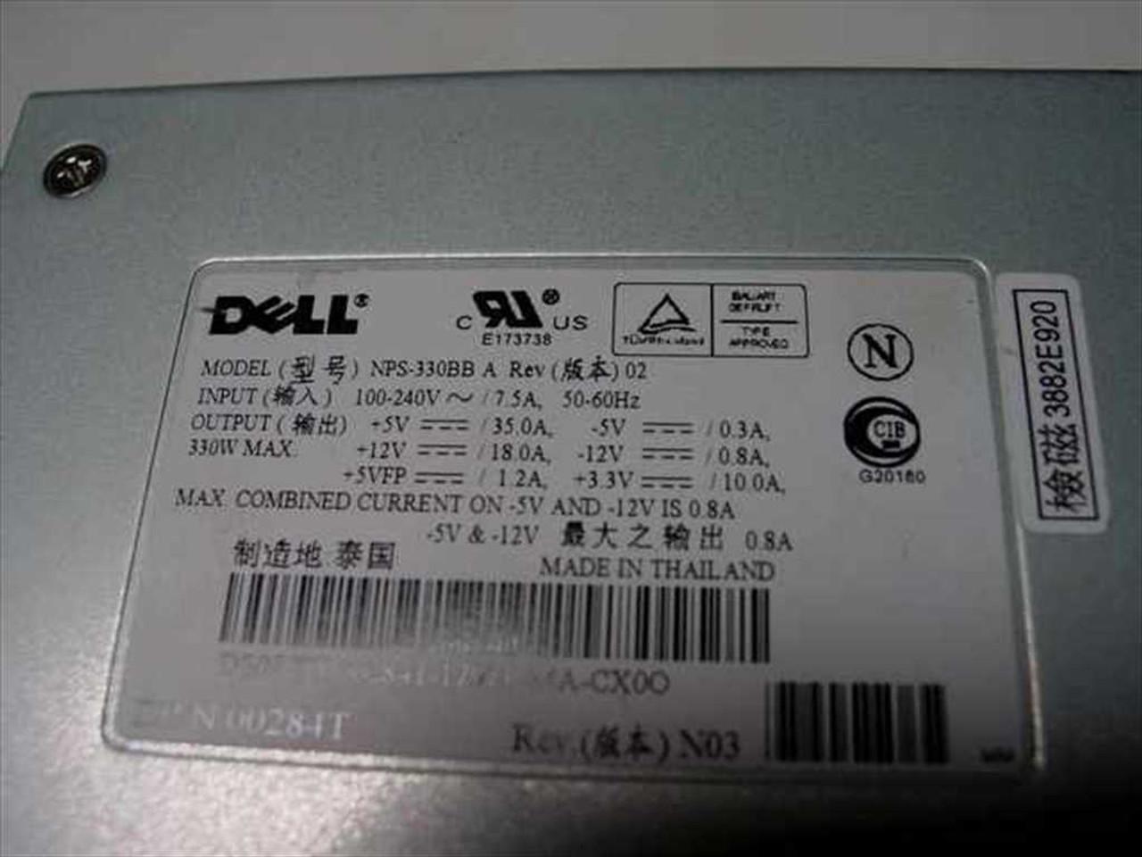 Inc 330W MAX POWER SUPPLY 0284T Dell