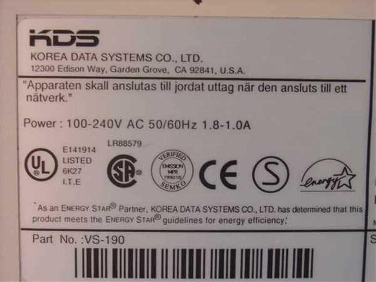 KDS VS-190e Monitor Windows 8 X64