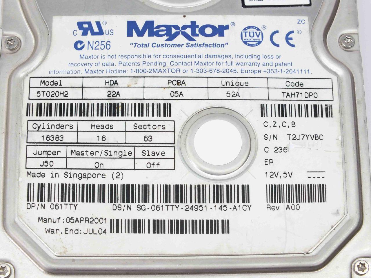 MAXTOR 5T020H2 DELL 061TTY HARD DRIVE