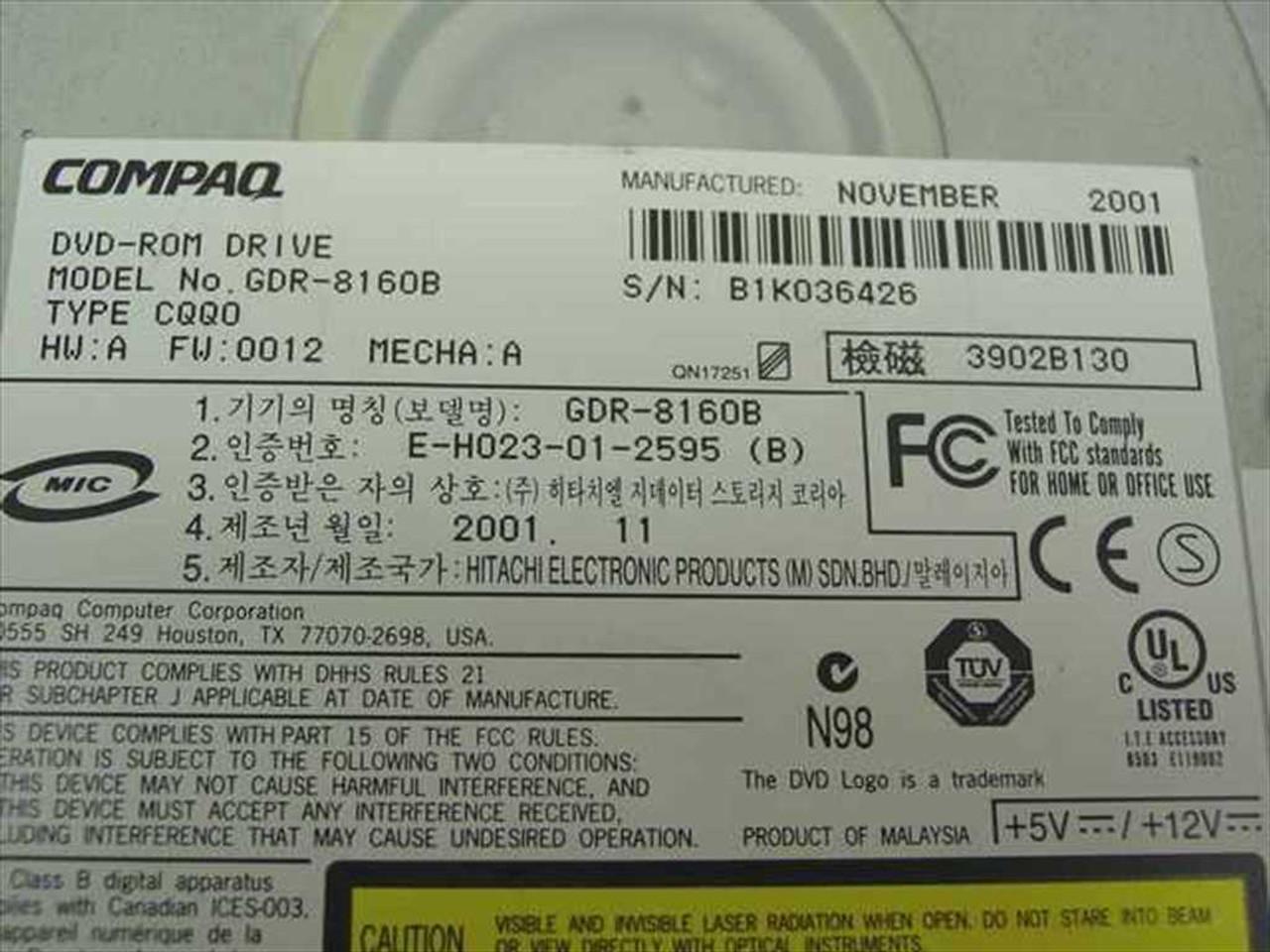 GDR-8160B COMPAQ 180593-004 16x DVD-ROM Internal