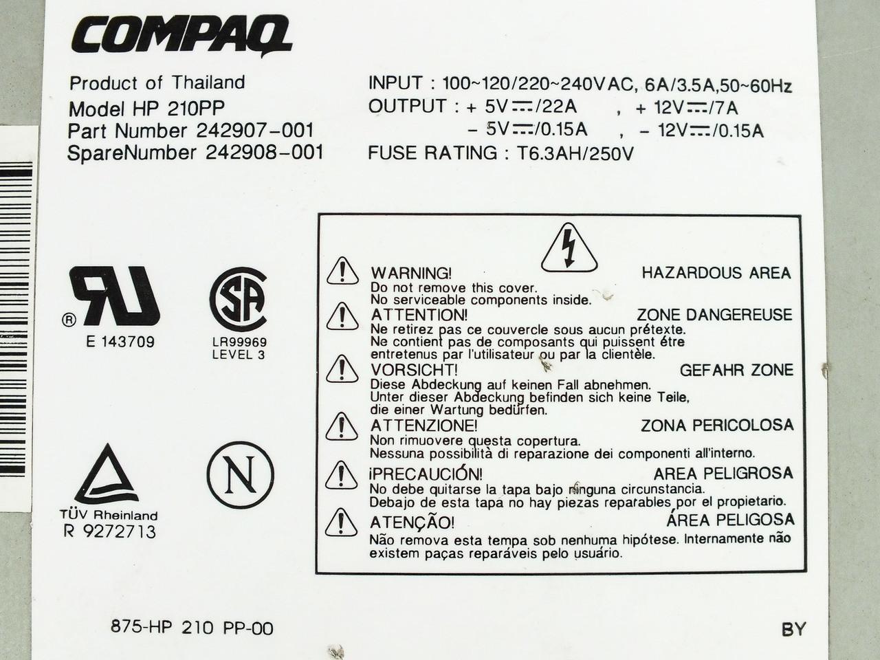 Compaq 242908-001 200W AT Power Supply Deskpro 2000 242907-001 210PP HP210PP