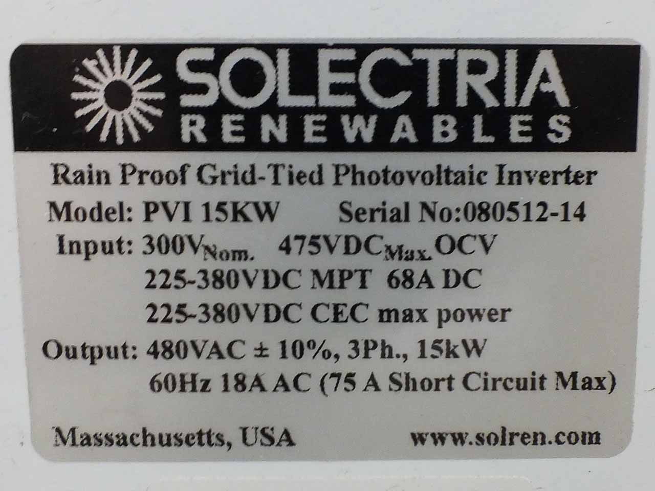 Solectria PVI15KW 15 kW Three-Phase 480V Solar Electricity Grid-Tied PV  Inverter