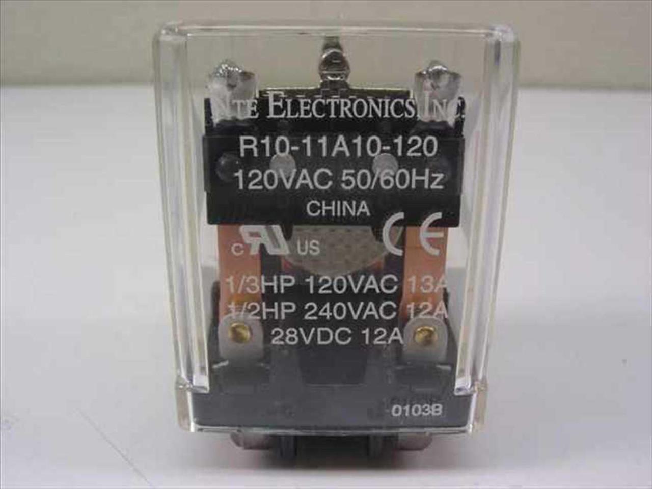 NTE R10-11A10-120 Relay DPDT 10A-120V NOB Unit