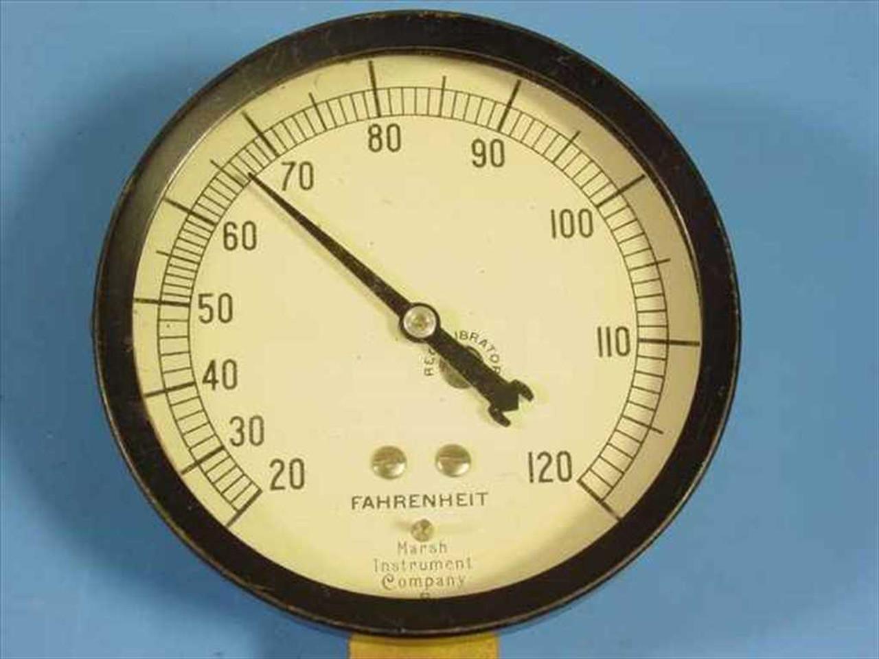 Marsh Instrument Company 120 Degree Fahrenheit Temperature Gauge