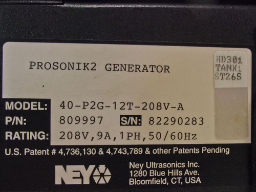 Ney Ultrasonics 809997 Prosonik 2 Ultrasonic Generator 40kHz - As Is / For Parts