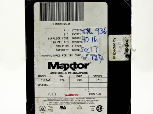 """IBM 129MB 3.5"""" IDE Hard Drive Maxtor 7120AI (92F0256)"""