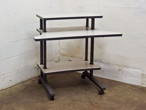 Unbranded 42 x 31 x 38 Mobile White and Gray Computer Desk with Casters